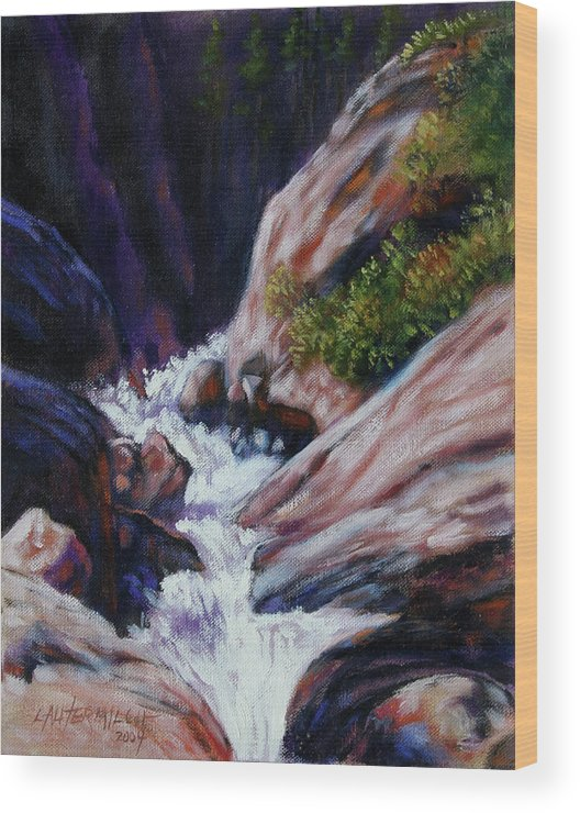 Mountain Stream Wood Print featuring the painting Rushing Waters two by John Lautermilch