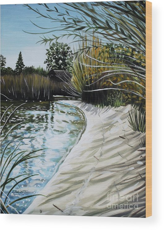 Landscape Wood Print featuring the painting Sandy Reeds by Elizabeth Robinette Tyndall