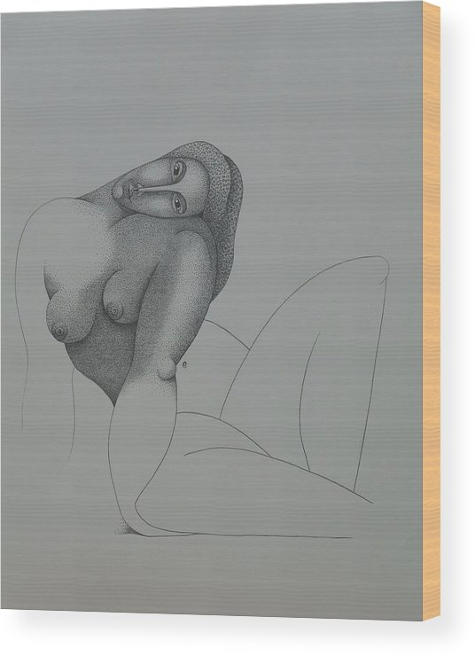 Sacha Circulism Wood Print featuring the drawing Seated Nude 2008 by S A C H A - Circulism Technique