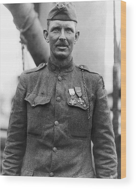 Alvin York Wood Print featuring the photograph Sergeant York - World War I Portrait by War Is Hell Store