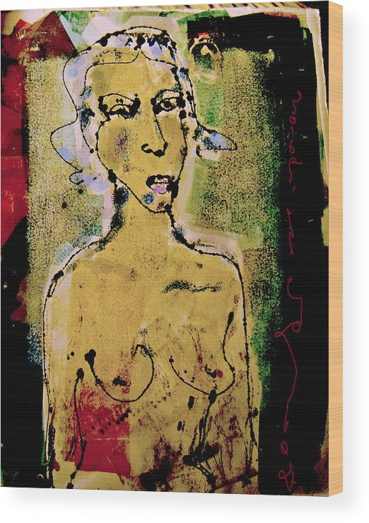 Female Wood Print featuring the painting Silent abuse by Noredin Morgan