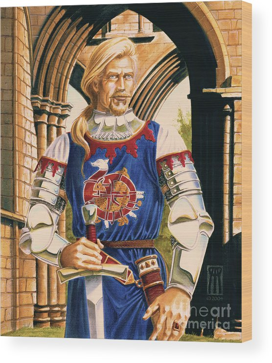 Swords Wood Print featuring the painting Sir Dinadan by Melissa A Benson