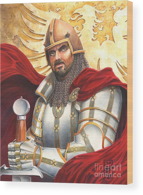 Swords Wood Print featuring the drawing Sir Gawain by Melissa A Benson