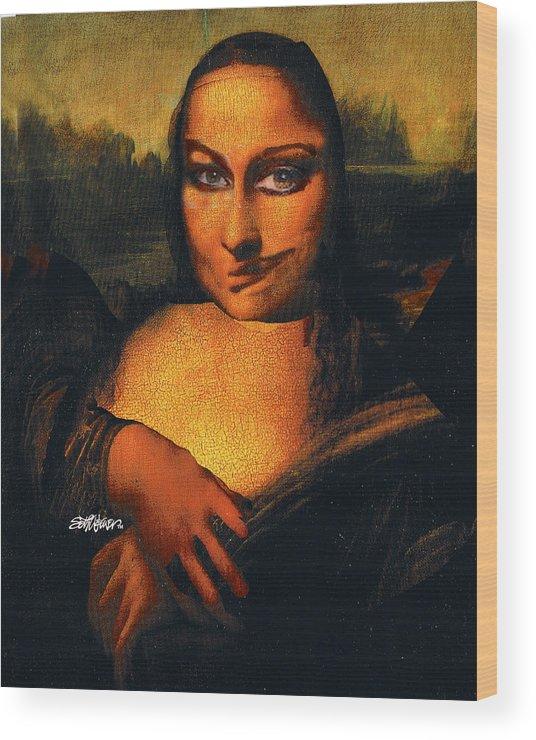 Mona Lisa Wood Print featuring the digital art Smirking Mona by Seth Weaver