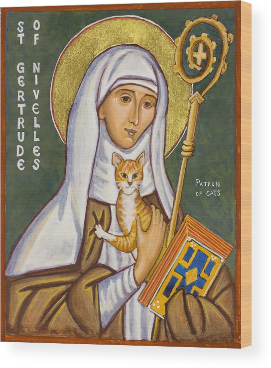 Icons Wood Print featuring the painting St. Gertrude of Nivelles Icon by Jennifer Richard-Morrow