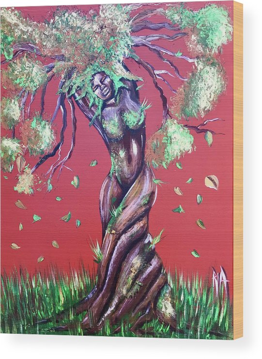 Tree Wood Print featuring the painting Stay Rooted- Stay Grounded by Artist RiA