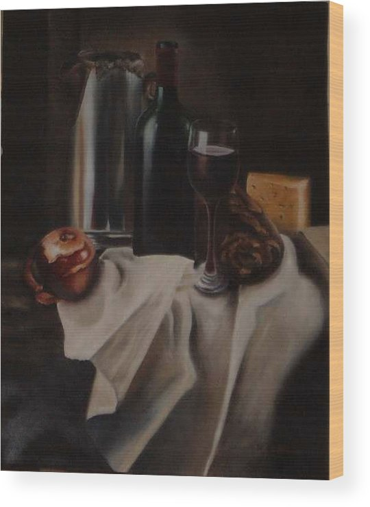 Wine Wood Print featuring the painting Still life with apple by Nellie Visser