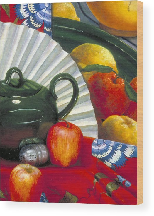 Oil Painting Wood Print featuring the painting Still Life with Citrus Still Life by Nancy Ethiel