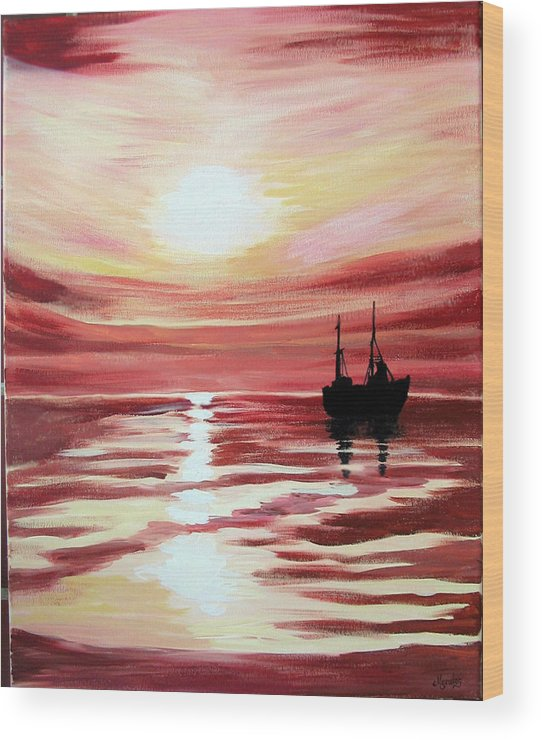 Seascape Wood Print featuring the painting Still waters run deep by Marco Morales
