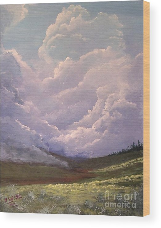 Clouds Wood Print featuring the painting Storm on the Palouse by John Wise