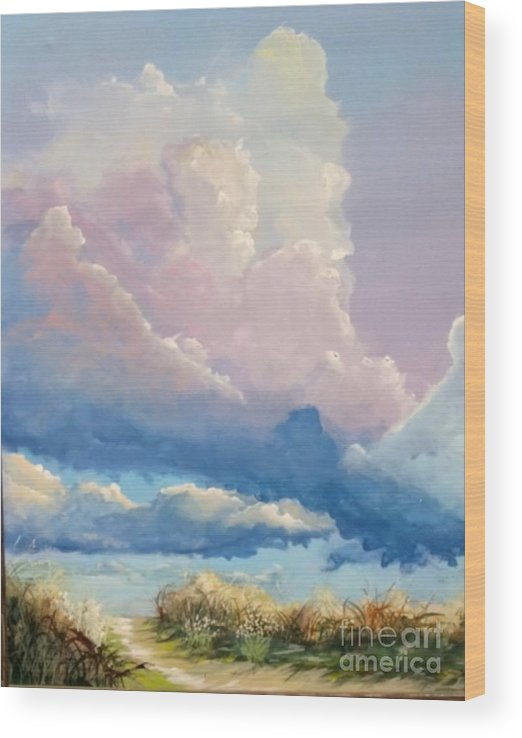 Landscape Wood Print featuring the painting Summer Clouds by John Wise