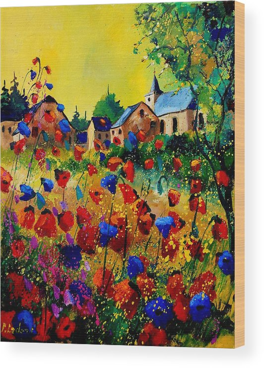Poppy Wood Print featuring the painting Summer in Sosoye by Pol Ledent