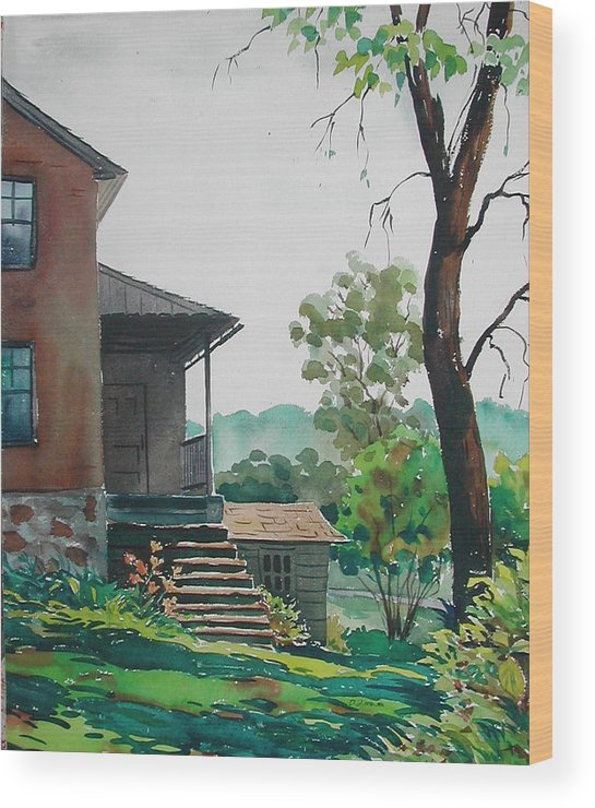 Wood Print featuring the painting Sunlit Steps by Faye Ziegler