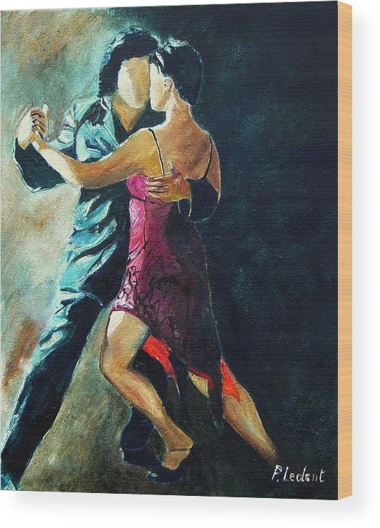 Tango Wood Print featuring the painting Tango by Pol Ledent