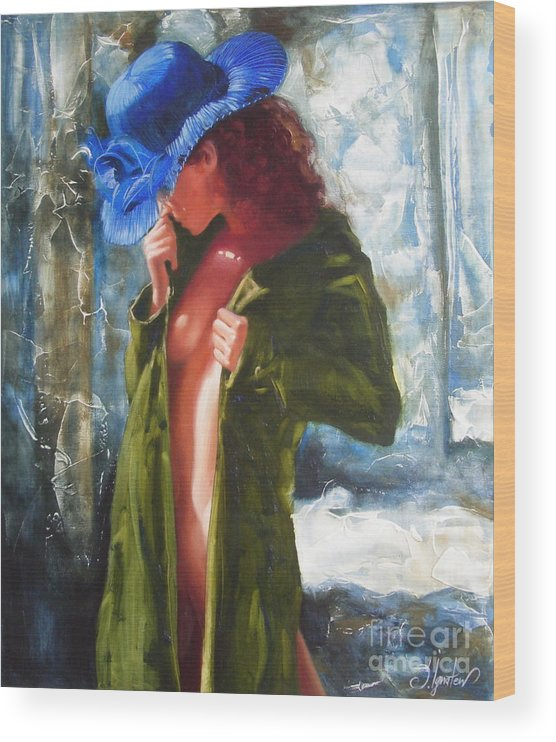 Art Wood Print featuring the painting The blue hat by Sergey Ignatenko