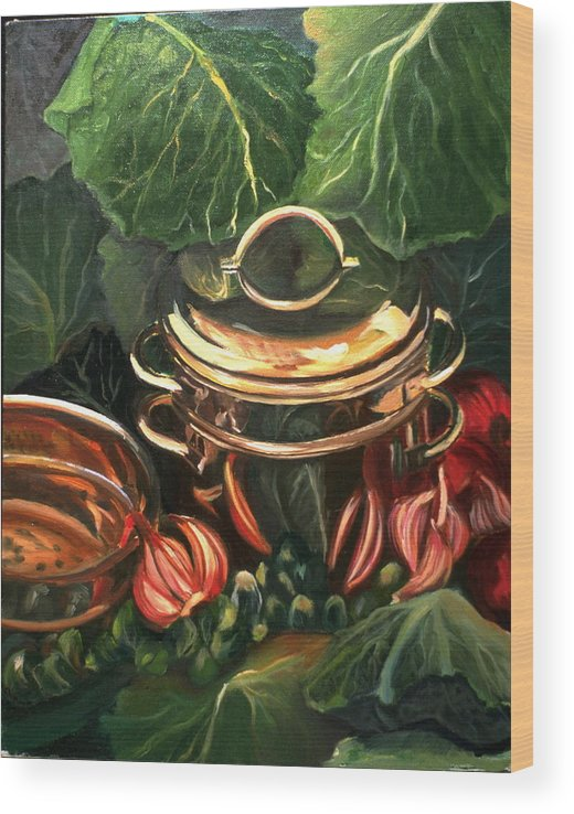 Still Life Wood Print featuring the painting The Cabbage Pot by Patricia Reed