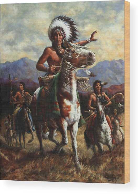 Native American Wood Print featuring the painting The Chief by Harvie Brown