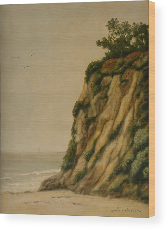 Ocean Wood Print featuring the painting The Cove by Lance Anderson