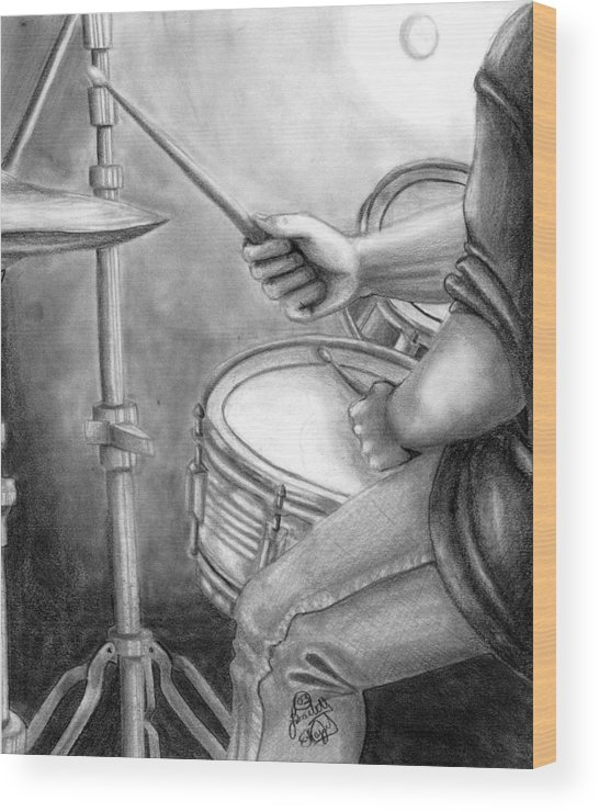 Drummer Wood Print featuring the drawing The Drummer by Scarlett Royal