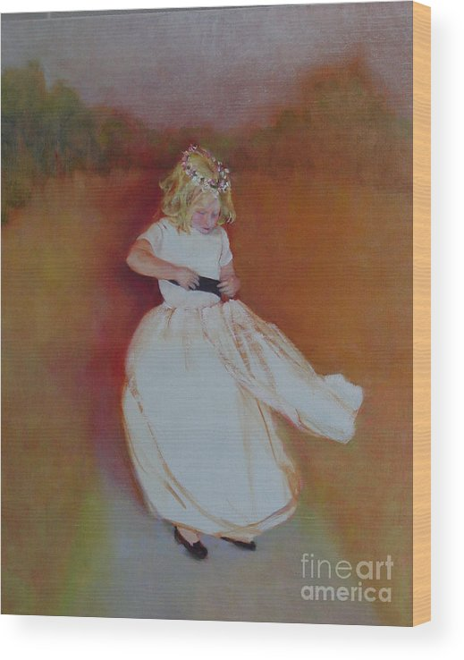 Contemporary Portrait Wood Print featuring the painting The Flower Girl copyrighted by Kathleen Hoekstra
