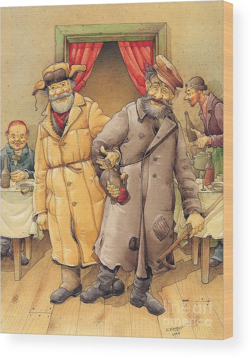 Russian Vodka Figures Pub Wood Print featuring the painting The Honest Thief 01 Illustration for book by Dostoevsky by Kestutis Kasparavicius