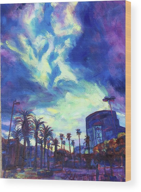 Palms Wood Print featuring the painting The Reveal by Bonnie Lambert