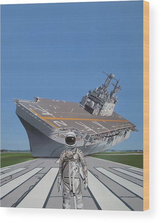 Astronaut Wood Print featuring the painting The Runway by Scott Listfield