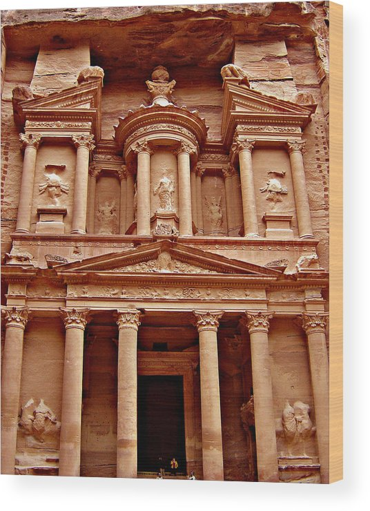 Landscape Wood Print featuring the photograph The Treasury at Petra by Brooke Lyman