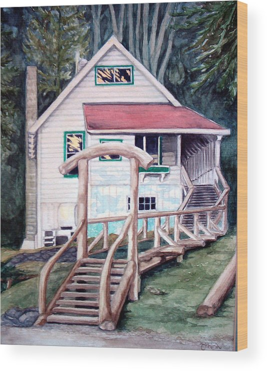 Old House Wood Print featuring the painting The Waterfront by Tahirih Goffic