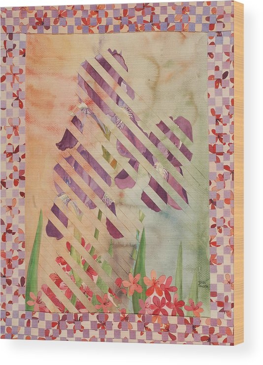 Iris Wood Print featuring the painting Through the Fence by Linda L Doucette