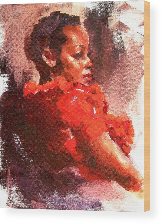 Portrait Wood Print featuring the painting Totally Red by Merle Keller