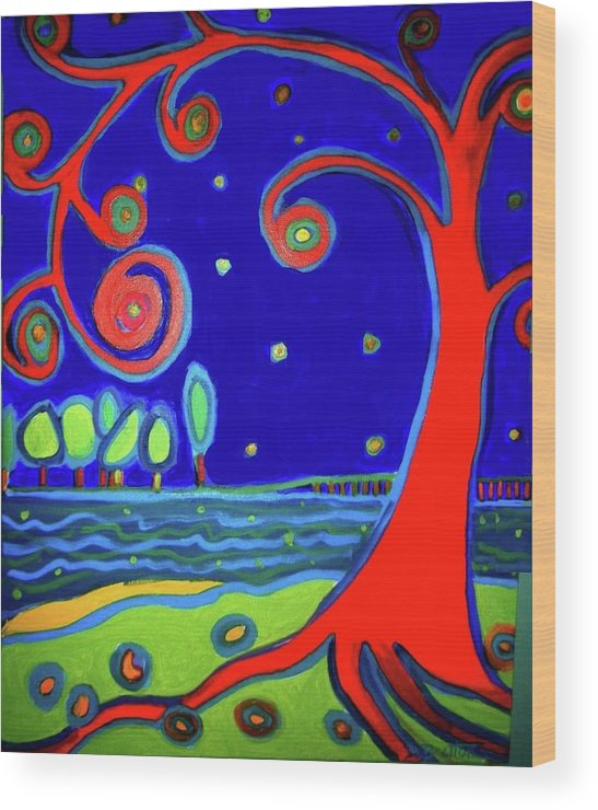 Manchester-by-the-sea Wood Print featuring the painting Tree of Life Manchester-by-the-sea by Debra Bretton Robinson