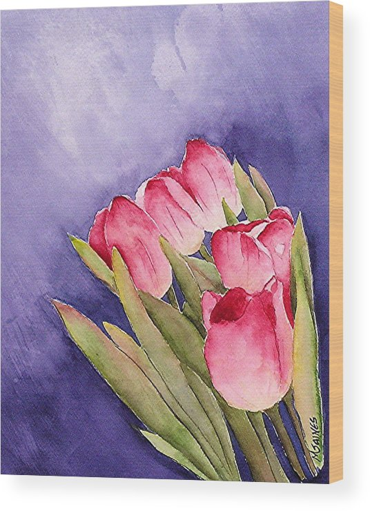 Red Tulips Wood Print featuring the painting Tulips in the Wind by Mary Gaines