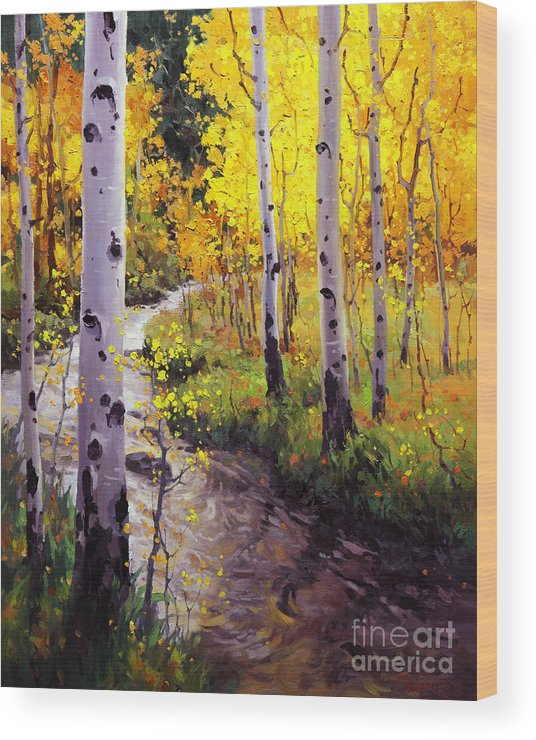 Twilight Glow Over Aspen Mountains Landscape Scenic Nature Fall Sky Aspen Trees Fall Foliage Wood Print featuring the painting Twilight Glow Over Aspen by Gary Kim