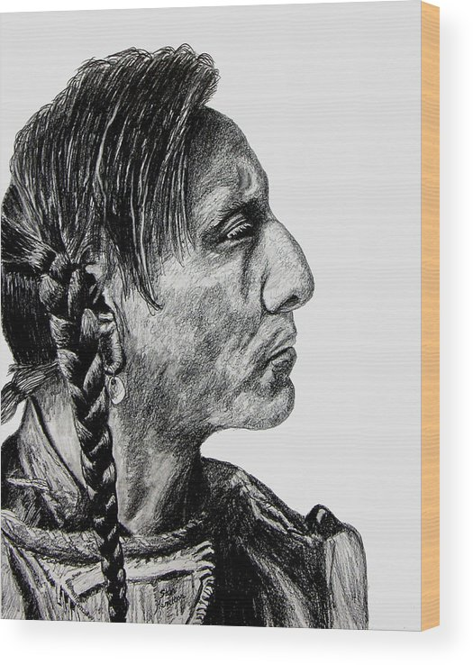 Indian Wood Print featuring the drawing Unknown Indian II by Stan Hamilton