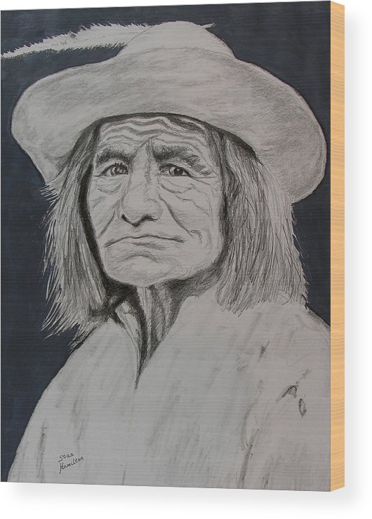 Graphite Wood Print featuring the drawing Unknown Indian VI by Stan Hamilton