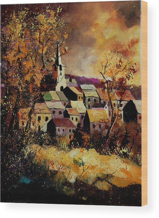 River Wood Print featuring the painting Village In Fall by Pol Ledent