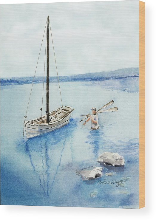 Boat Wood Print featuring the painting Waist Deep by Arline Wagner