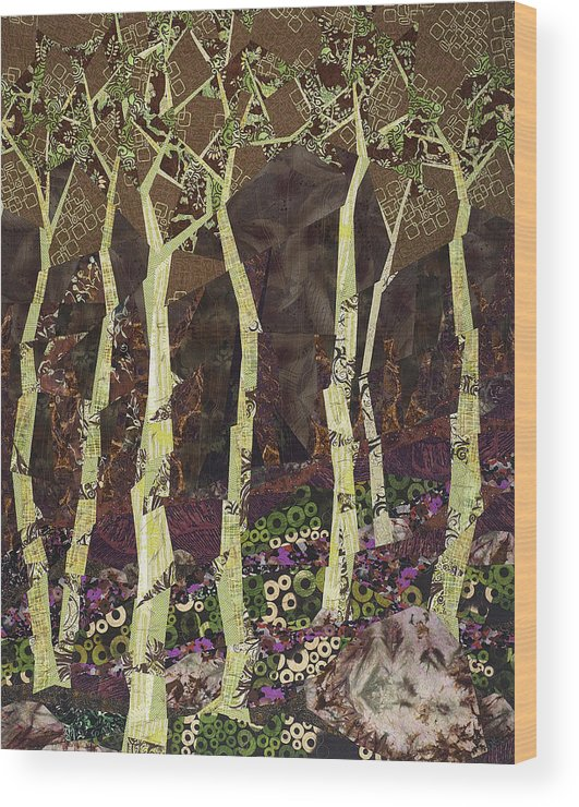 Tree Wood Print featuring the tapestry - textile Wearing the Scars by Linda Beach