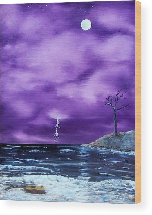 Surrealism Wood Print featuring the painting Wet Guitar by Tony Rodriguez