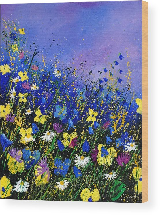 Flowers Wood Print featuring the painting Wild flowers 560908 by Pol Ledent