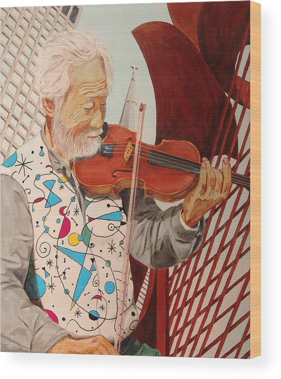 Kevin Callahan Wood Print featuring the painting Windy City Blues by Kevin Callahan