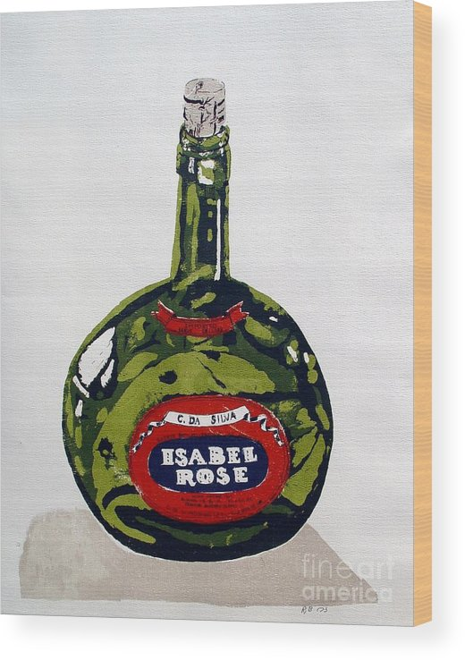 Silk Screen Wood Print featuring the mixed media Wine Bottle by Ron Bissett
