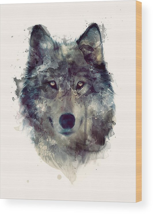 Wolf Wood Print featuring the painting Wolf // Persevere by Amy Hamilton