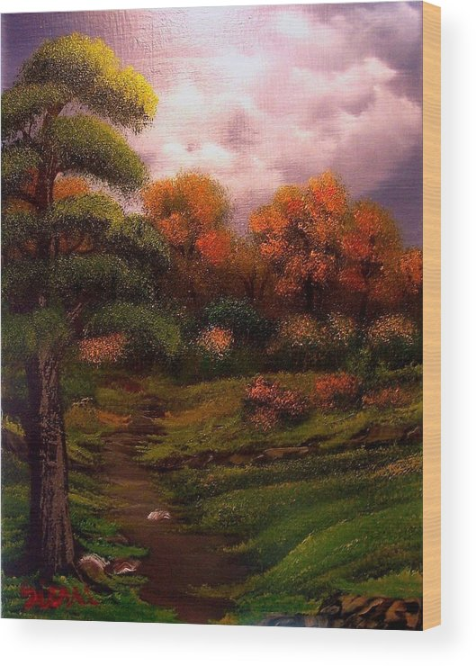 Landscape Wood Print featuring the painting Woodland Trail by Dina Sierra