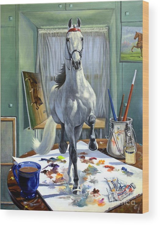 American Saddlebred Art Wood Print featuring the painting Work In Progress V by Jeanne Newton Schoborg