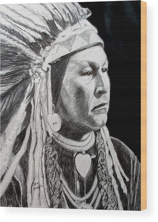 Indian Wood Print featuring the drawing Yellow Wolf by Stan Hamilton