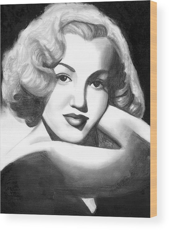 Portrait Wood Print featuring the drawing Young Marilyn by Scarlett Royal