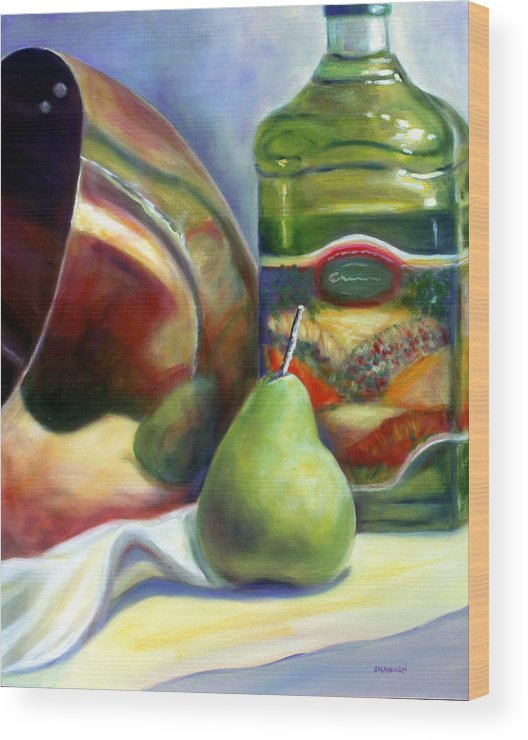 Copper Vessel Wood Print featuring the painting Zabaglione Pan by Shannon Grissom