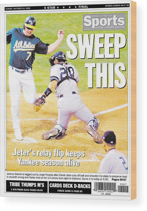 American League Baseball Wood Print featuring the photograph Daily News Back Page Derek Jeter by New York Daily News